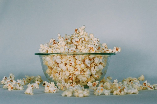 popcorn in a clear bowl