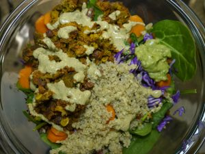 Creamy Cumin Ranch Dressing on top of Tex-Mex Salad