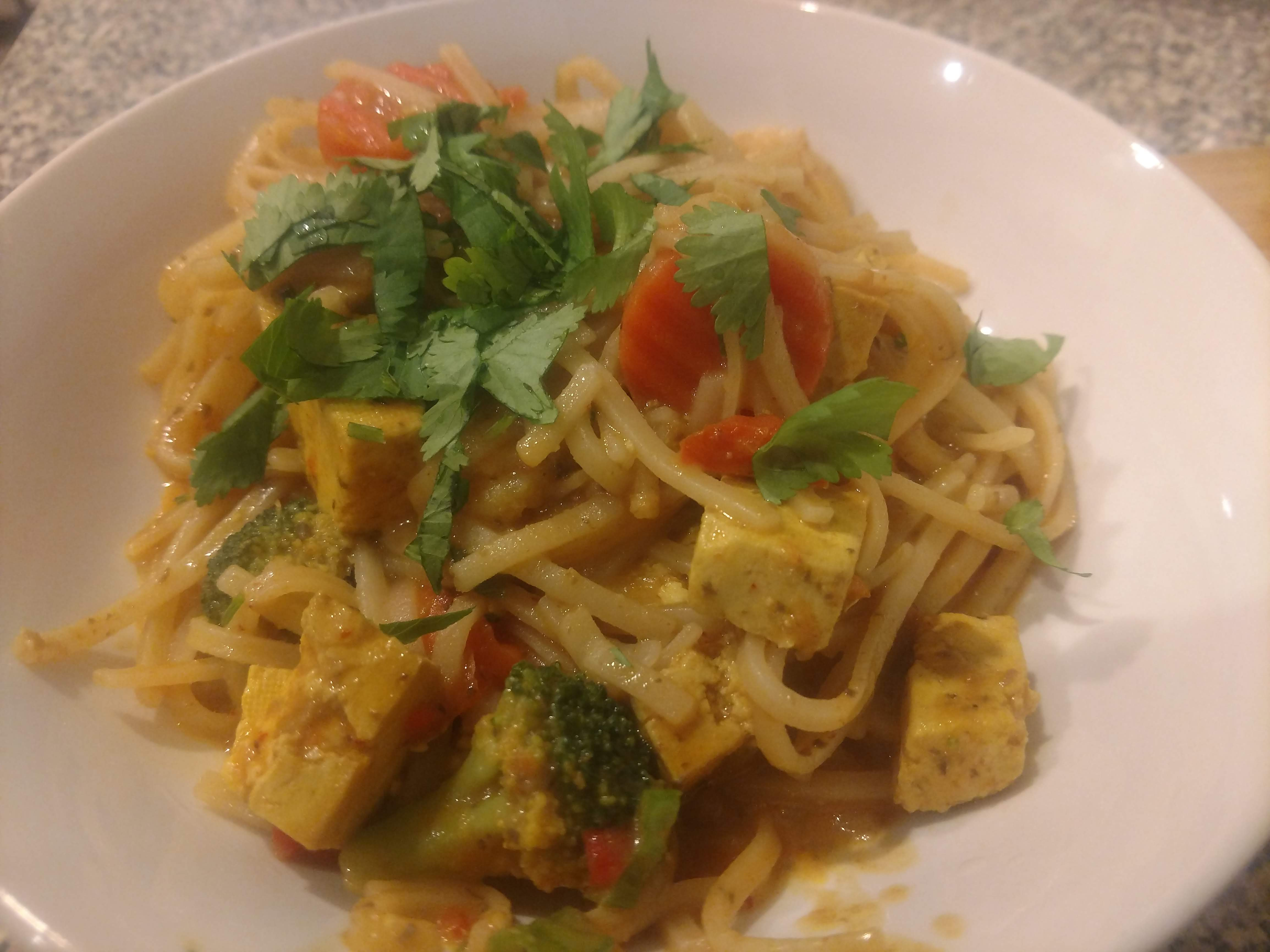 Red Curry Noodles and Tofu