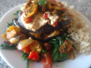 eggplant and hummus dish
