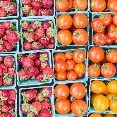 strawberries and tomatoes